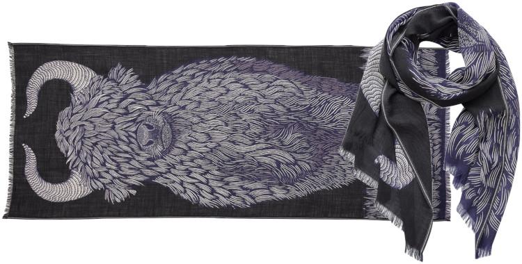 foulard imprimé, en laine, Inouitoosh hiver 2020, le yack, noir.