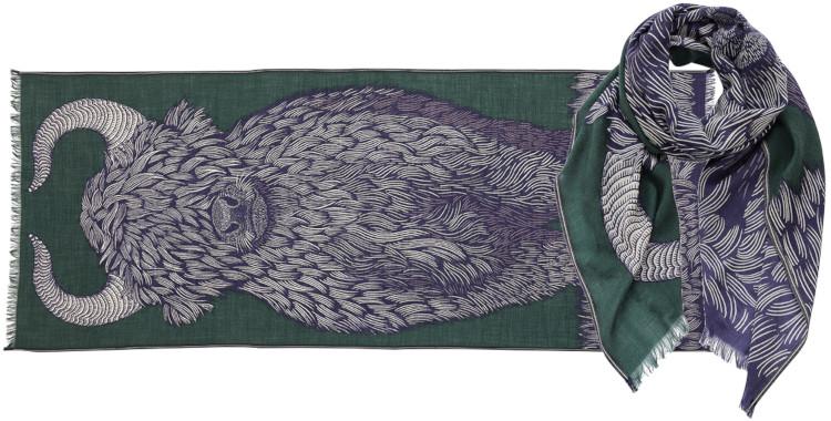 foulard imprimé, en laine, Inouitoosh hiver 2020, le yack, vert.