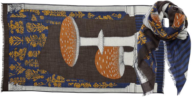 foulard imprimé, en laine, Inouitoosh hiver 2020, les champignons, marrons.