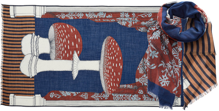 foulard imprimé, en laine, Inouitoosh hiver 2020, les champignons, rouges.