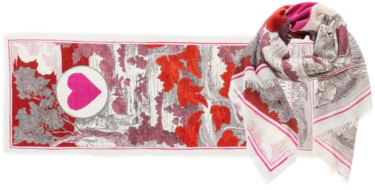 foulard imprimé, en laine, Inouitoosh hiver 2020, un lion caché dans la végétation, automne.