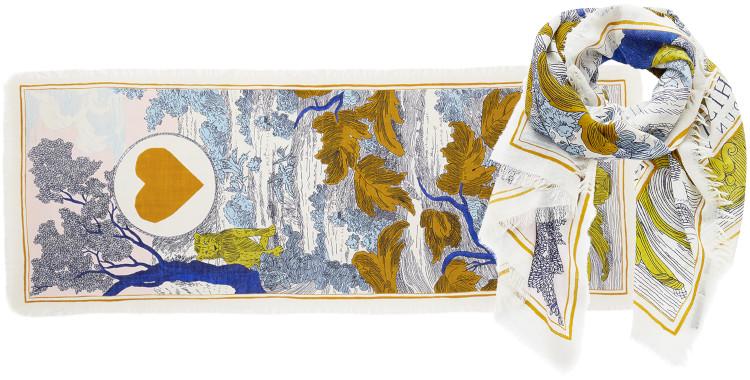 foulard imprimé, en laine, Inouitoosh hiver 2020, un lion caché dans la végétation, jaune.