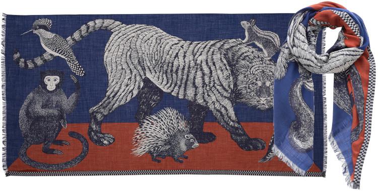 foulard imprimé, en laine, Inouitoosh hiver 2020, le tigre et des animaux, bleu.