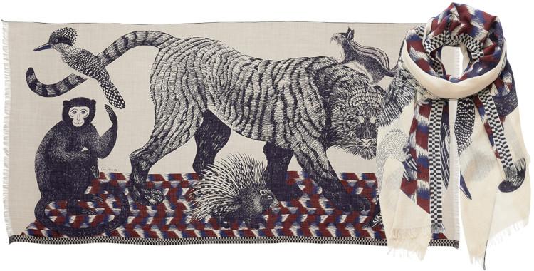 foulard imprimé, en laine, Inouitoosh hiver 2020, le tigre et le bestiaire, naturel.