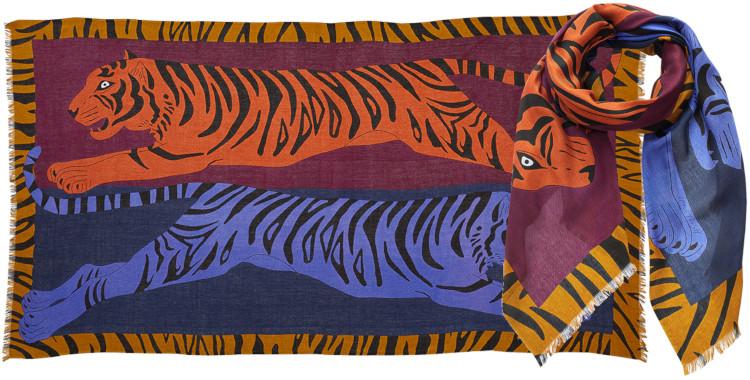 foulard imprimé, en modal et cachemire, Inouitoosh hiver 2020, les tigres bondissant, bleu.