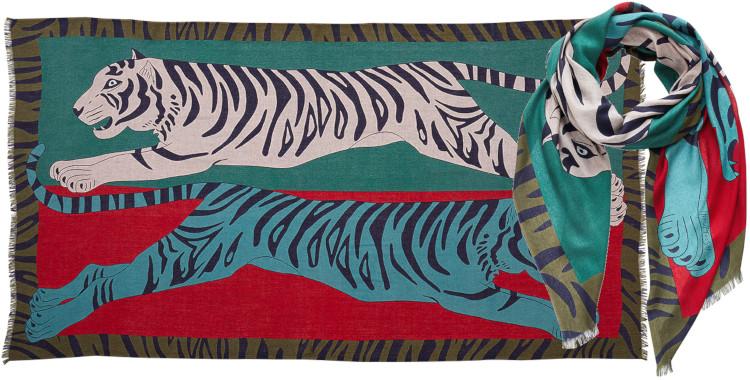 foulard imprimé, en modal et cachemire, Inouitoosh hiver 2020, les tigres bondissant, vert.