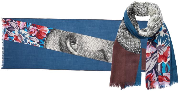 foulard imprimé, en laine, Inouitoosh hiver 2020, le Visage de Femme, bleu.