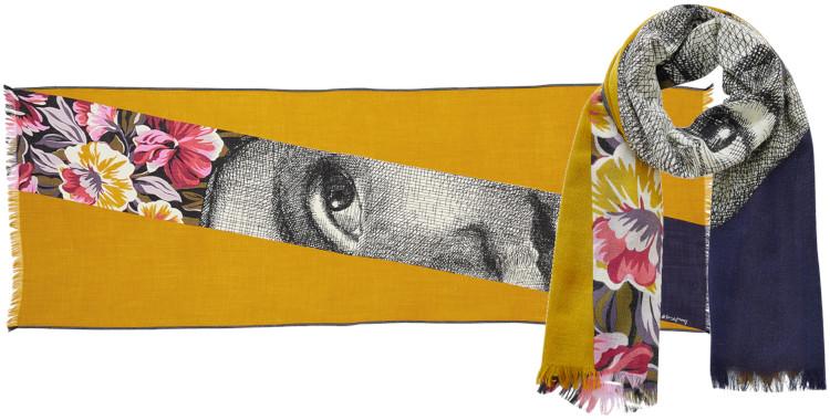 foulard imprimé, en laine, Inouitoosh hiver 2020, le Visage de Femme, jaune.