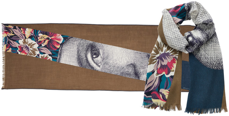 foulard imprimé, en laine, Inouitoosh hiver 2020, le Visage de Femme, kaki.