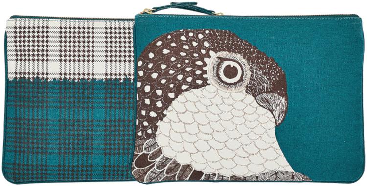 pochette en coton imprimé, collection Inouitoosh hiver 2020, l'aigle, en bleu canard