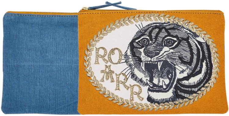 pochette en coton imprimé, rebrodée, collection Inouitoosh hiver 2020, le tigre, en jaune.