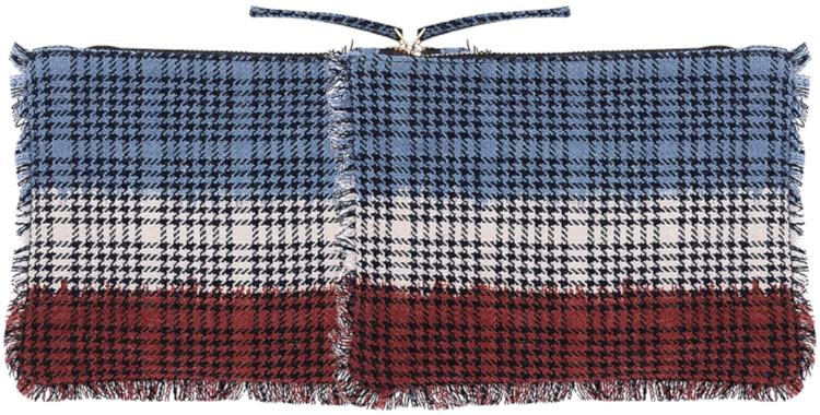 pochette, frangée, en laine imprimé, collection Inouitoosh hiver 2020, les carreaux tricolores.