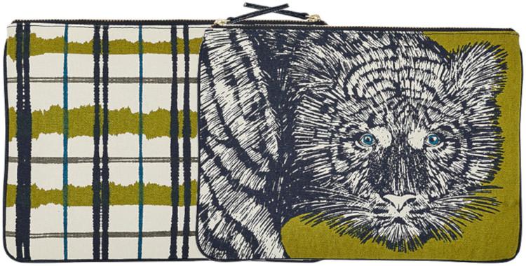 pochette en coton imprimé, collection Inouitoosh hiver 2020, le tigre, en vert