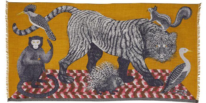 Inouitoosh hiver 2020 foulard laine tigre et animaux jaune
