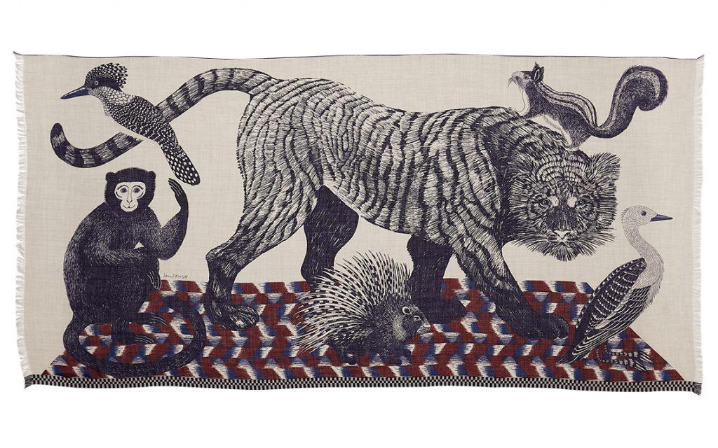 Inouitoosh hiver 2020 foulard laine tigre et animaux naturel