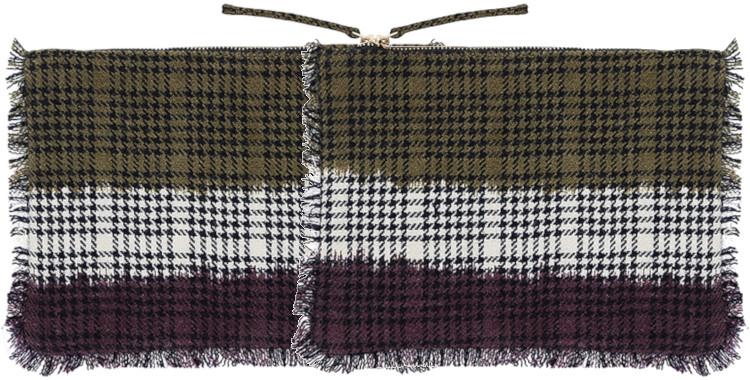 pochette frangée, en laine imprimée, Les Carreaux Pieds de Poule, collection Inouitoosh hiver 2020, l'aigle, en kaki
