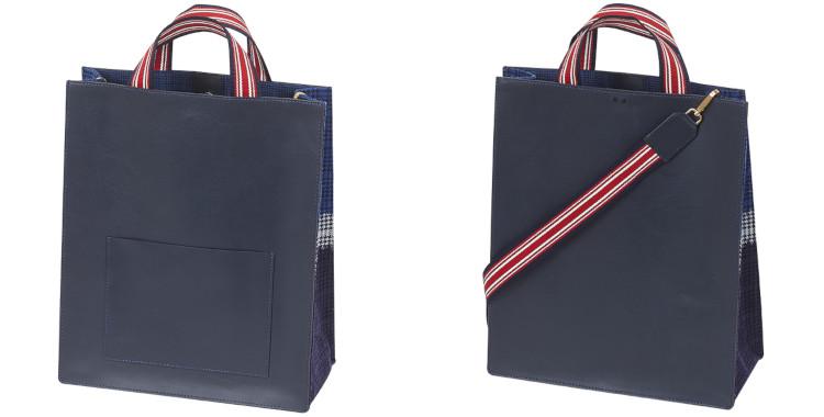 sac en cuir et laine imprimé Inouitoosh collection hiver 2020, en bleu marine.
