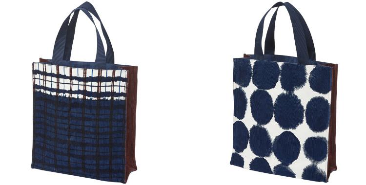 sac en coton velours Inouitoosh hiver 2020 carreaux et pois bleu marine