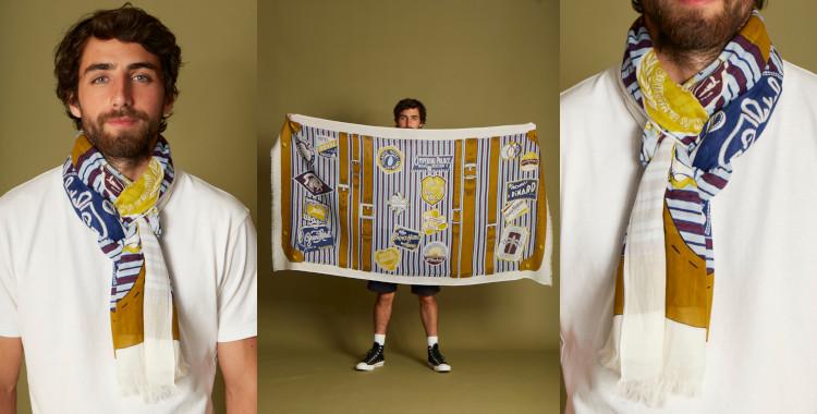 Ce foulard jaune, en coton, de la marque InouiEditions, été 2021, donne envie de prendre sa valise pour voyager à travers le monde.
